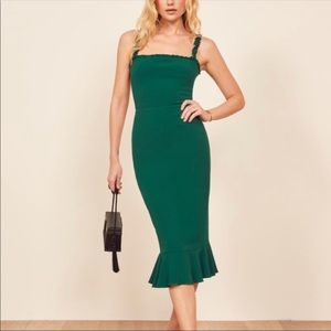 NWT reformation Wilshire dress in green
